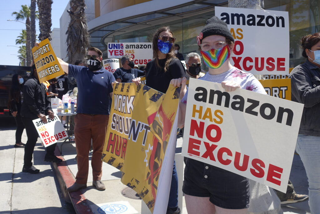 May 24, 2021 protest of Amazon's human rights, labor and environment violations